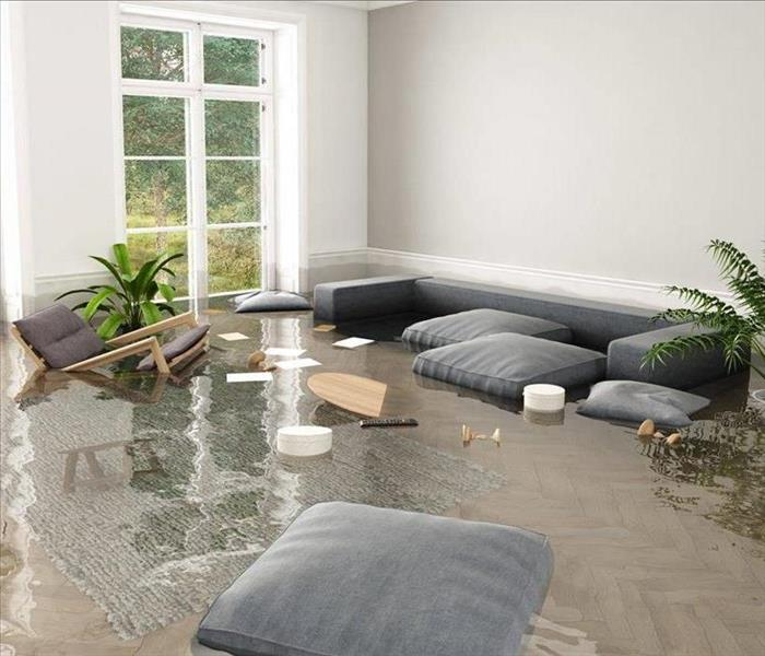 water damage inside a residential living room